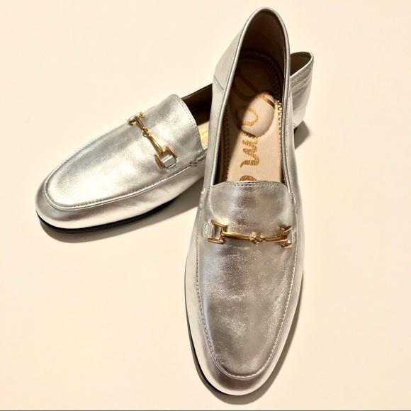 54663358484 Sam Edelman Loraine silver metallic leather loafer.  M 5a80ccc8a4c485d05b31c50b